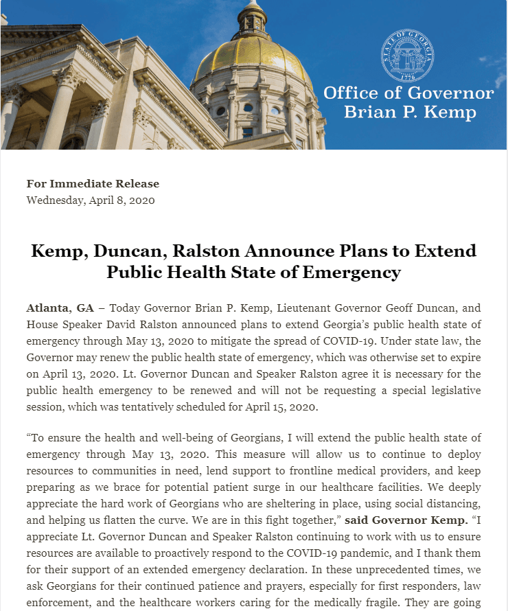 Public Health State of Emergency - Press Release